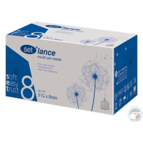 Igły do penów insulinowych SET Lance 31G 0,25 x 8mm 100 sztuk