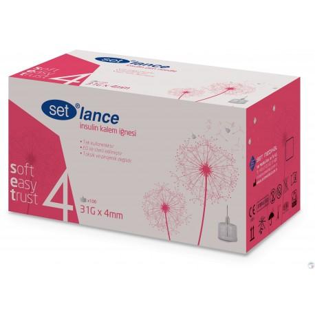 Igły do penów insulinowych SET Lance 31G 0,25 x 4mm 100 sztuk